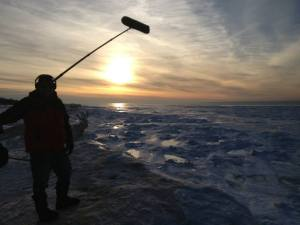 "Epic boom pic!  Shooting 200 yards out on Lake Michigan, on a 50' ice cliff at sunset.  ""The Middle Distance"", directed by Patrick Underwood."