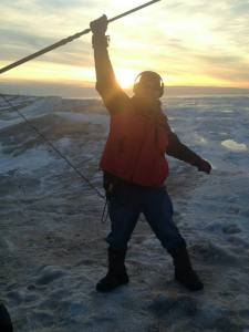 "Loving my job!  Shooting 200 yards out on Lake Michigan, on a 50' ice cliff at sunset.  ""The Middle Distance"", directed by Patrick Underwood."