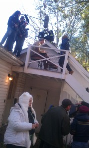 "Booming Cary Elwes from the roof of a house on ""Cawdor"", directed by Phil Wurtzel."